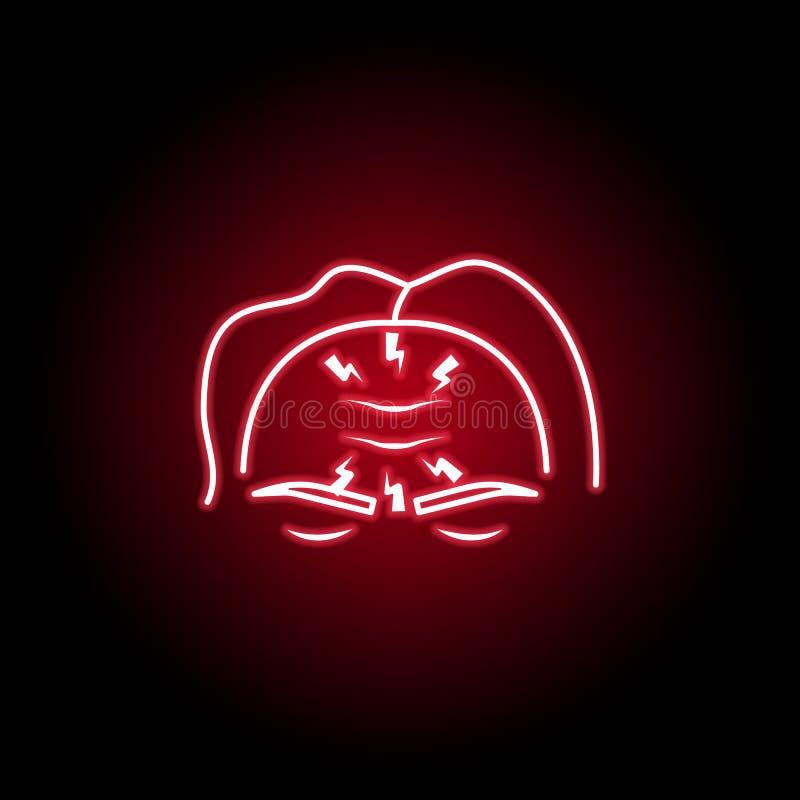icône de mal de tête dans le style au néon ?l?ment de douleur de corps humain pour l'illustration mobile d'apps de concept et de  illustration libre de droits