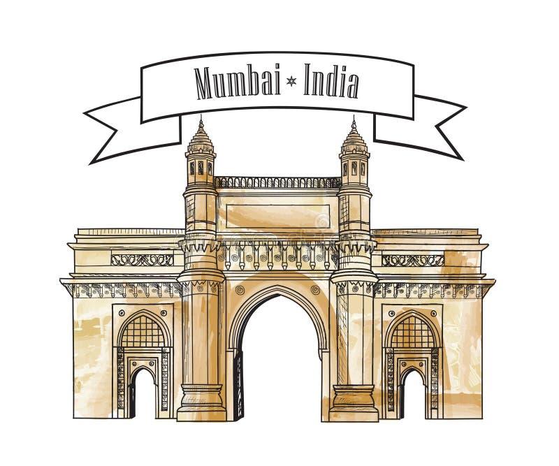 Icône de manière de porte de ville de Mumbai, Inde Portes indiennes célèbres de maharashtra illustration de vecteur