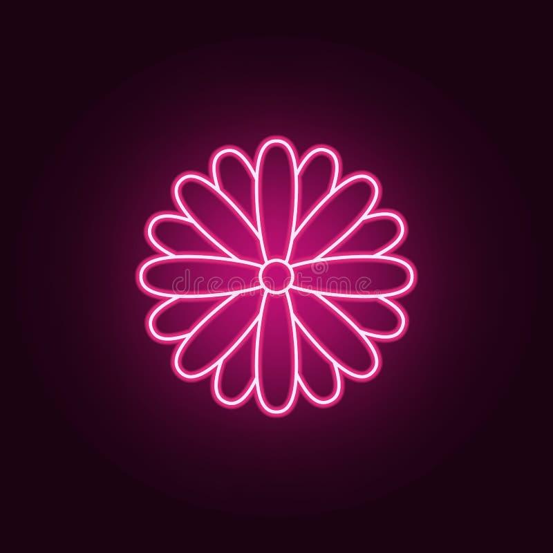 Icône de marguerite Éléments des feuilles et des fleurs dans les icônes au néon de style E illustration libre de droits