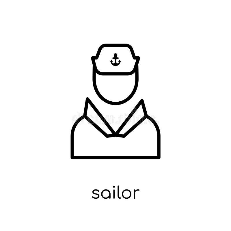 Icône de marin Icône linéaire plate moderne à la mode de marin de vecteur sur le whi illustration stock