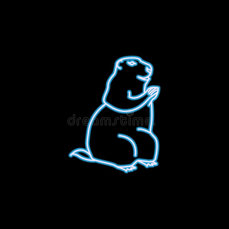 icône de marmotte dans le style au néon Un de l'icône de collection de rongeurs peut être employé pour UI, UX illustration libre de droits