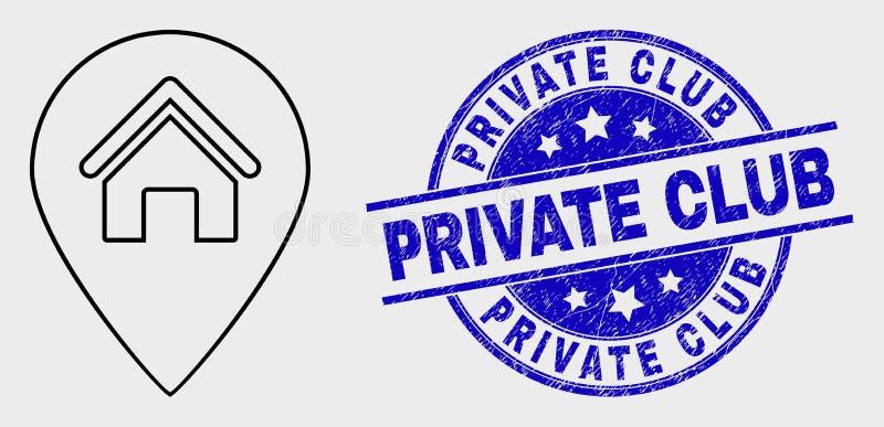 Icône de marqueur de carte de Chambre d'ensemble de vecteur et affliger le joint de club privé illustration de vecteur