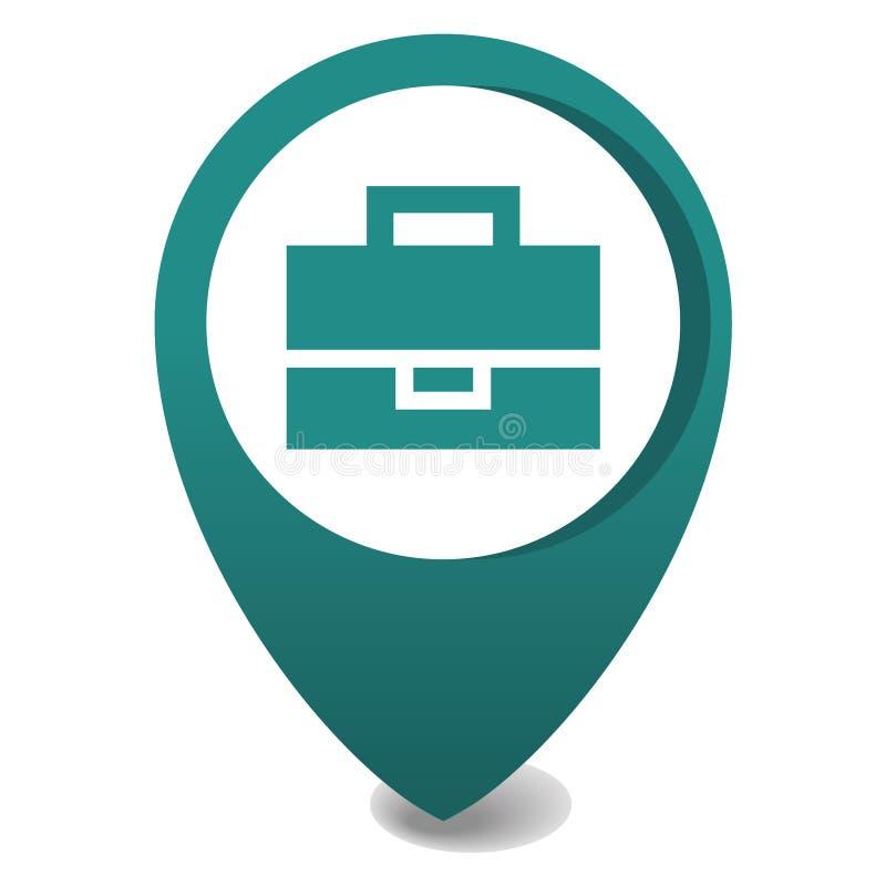 Icône de marqueur de carte, emplacement de goupille du vecteur 3d en vert, icône de généralistes, valise illustration de vecteur