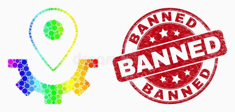 Icône de marqueur de carte de service de pixel de spectre de vecteur et affliger le joint interdit de timbre illustration stock