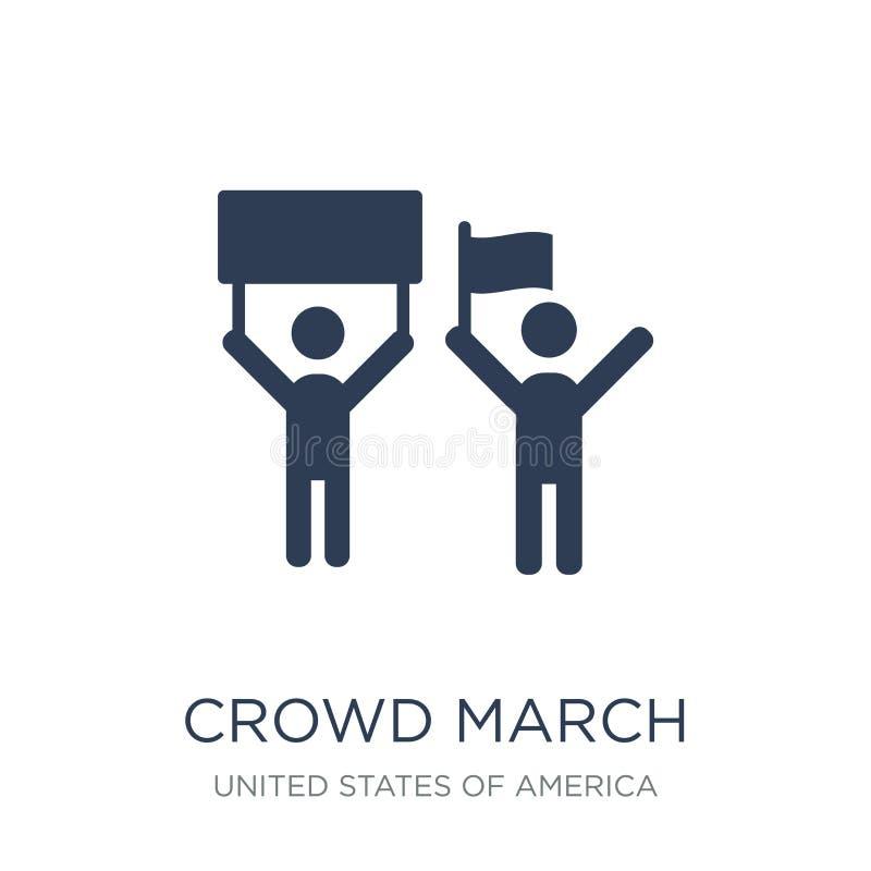 icône de mars de foule Icône plate à la mode de mars de foule de vecteur sur b blanc illustration libre de droits