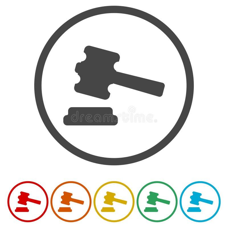 Icône de marteau de juge ou de vente aux enchères illustration de vecteur
