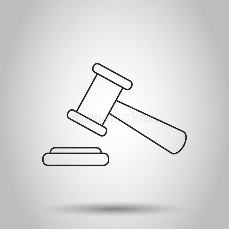 Icône de marteau de vente aux enchères dans la ligne style Illustration de vecteur sur l'isolat illustration libre de droits