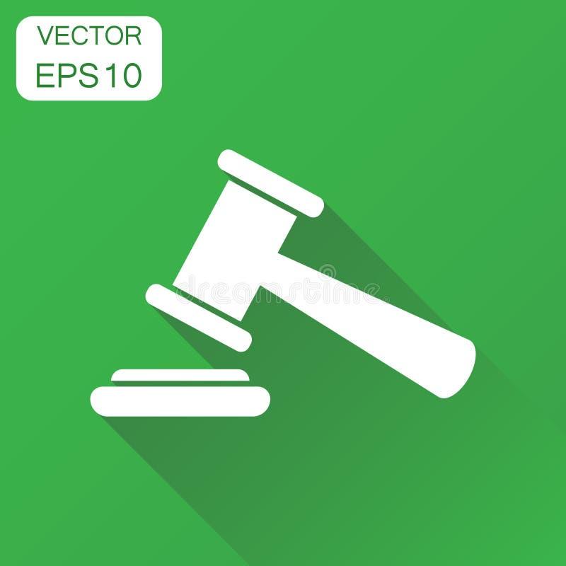 Icône de marteau de vente aux enchères Pictogramme de tribunal de cour de concept d'affaires illustration de vecteur