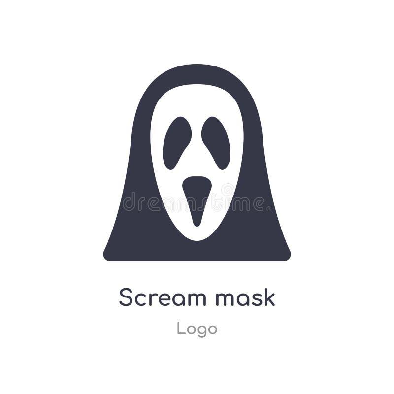 icône de masque de cri perçant illustration d'isolement de vecteur d'icône de masque de cri perçant de collection de logo editabl illustration libre de droits