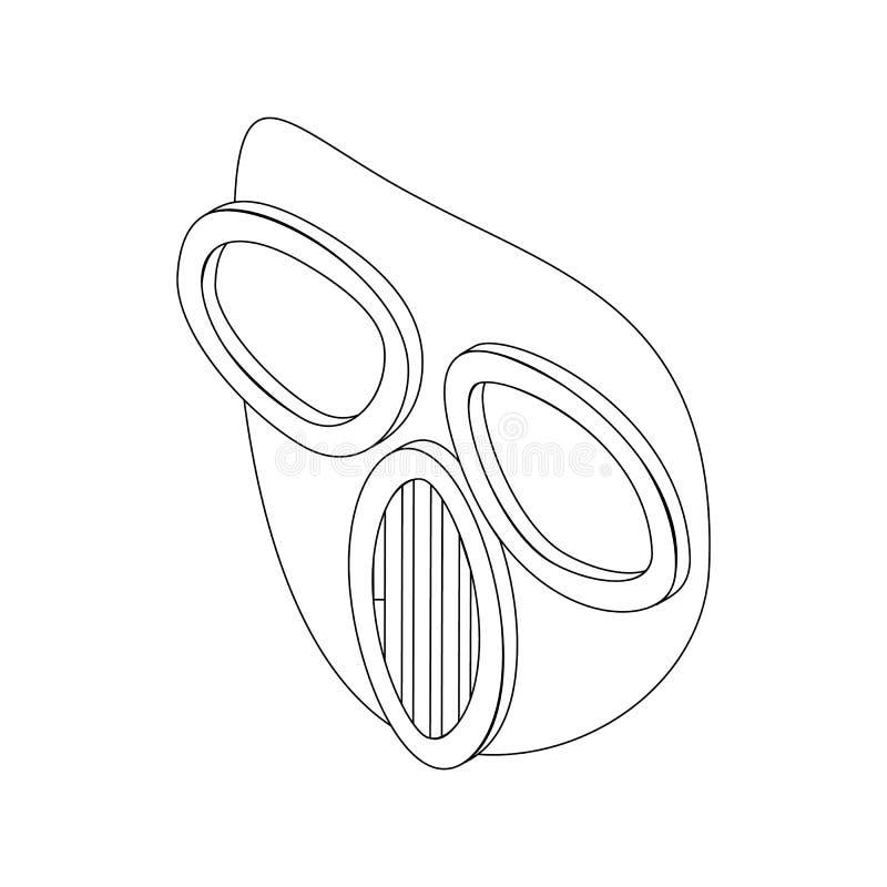 Icône de masque de Paintball, style 3d isométrique illustration stock