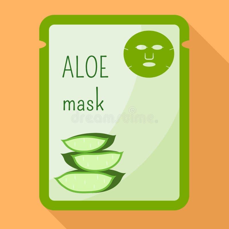 Icône de masque de Vera d'aloès, style plat illustration de vecteur