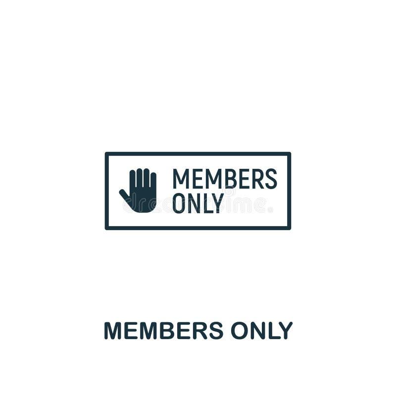 Icône de membres seulement Conception créative d'élément de la collection satisfaite d'icônes Icône parfaite de membres de pixel  illustration libre de droits