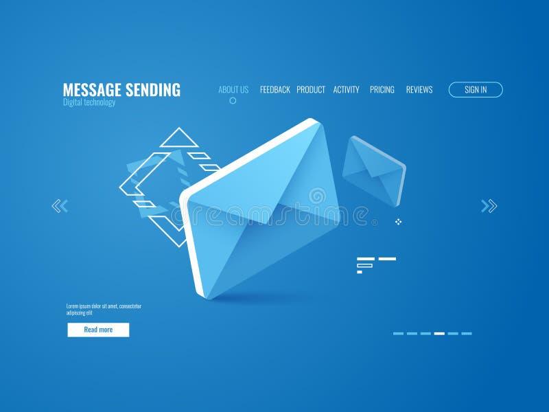 Icône de message, email envoyant le concept, publicité en ligne, calibre de page Web isométrique illustration libre de droits