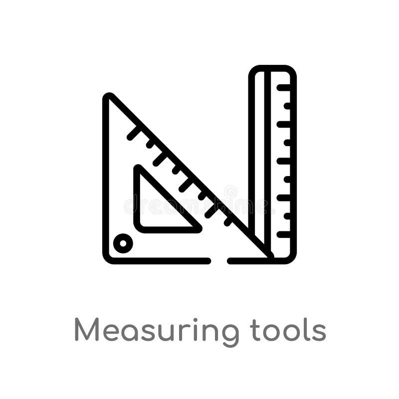 icône de mesure de vecteur d'outils d'ensemble ligne simple noire d'isolement illustration d'élément de concept d'éducation Vecte illustration de vecteur