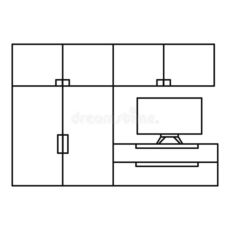 Icône de meubles de salon, style d'ensemble illustration libre de droits
