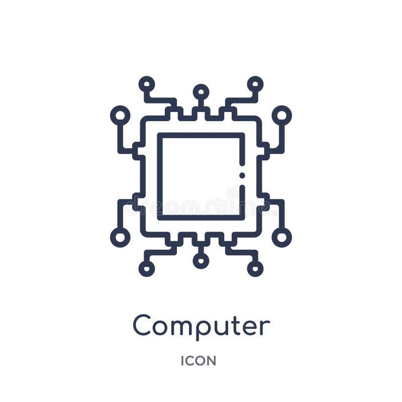 icône de microprocesseur d'ordinateur de collection d'ensemble de technologie Ligne mince icône de microprocesseur d'ordinateur d illustration de vecteur