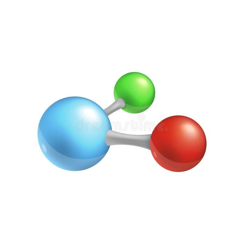Icône de molécule - trois particules chimiques colorées reliées dans une chaîne illustration de vecteur
