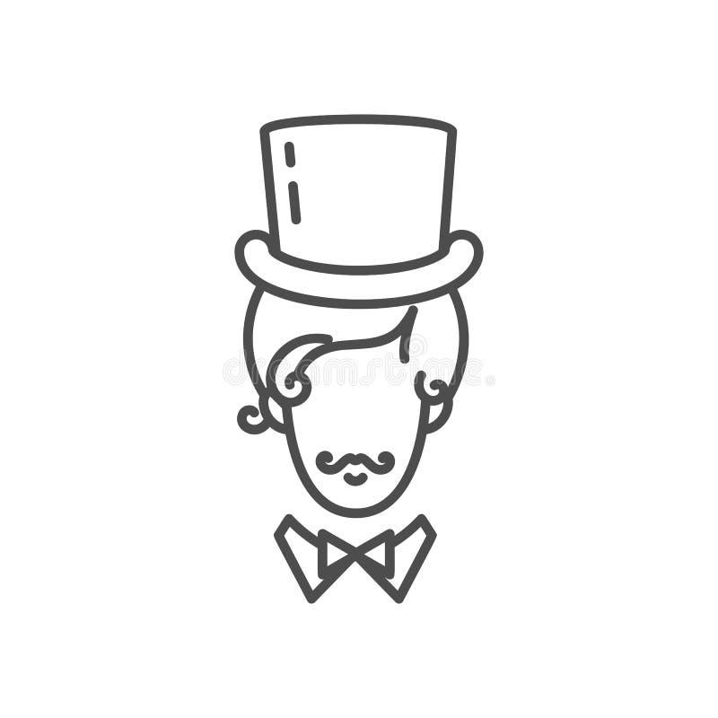 Icône de monsieur, homme élégant dans un chapeau grand avec une moustache Conception de schéma, illustration de vecteur illustration stock