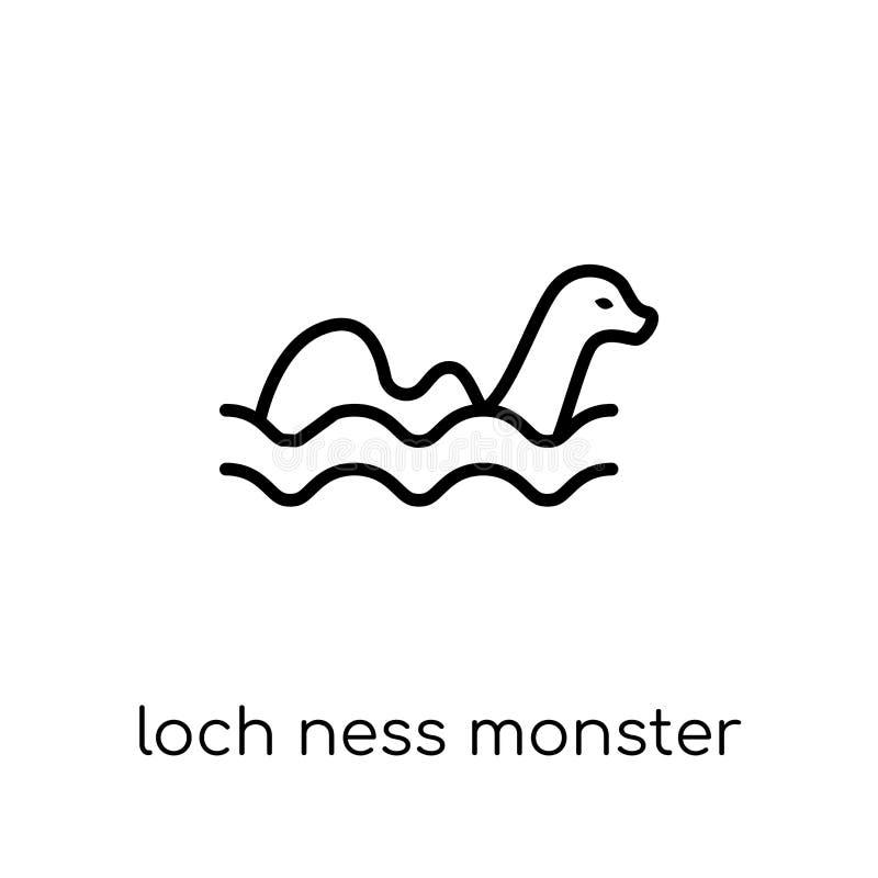 Icône de monstre de Loch Ness Ne linéaire plat moderne à la mode de loch de vecteur illustration libre de droits