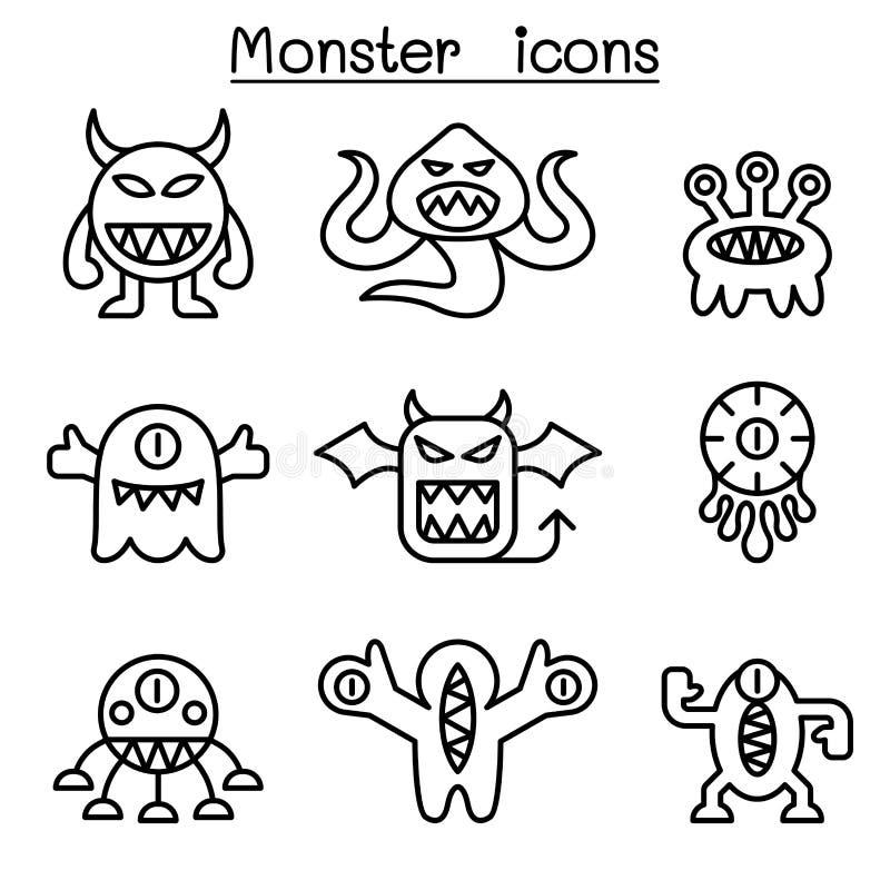Icône de monstre réglée dans la ligne style mince illustration stock