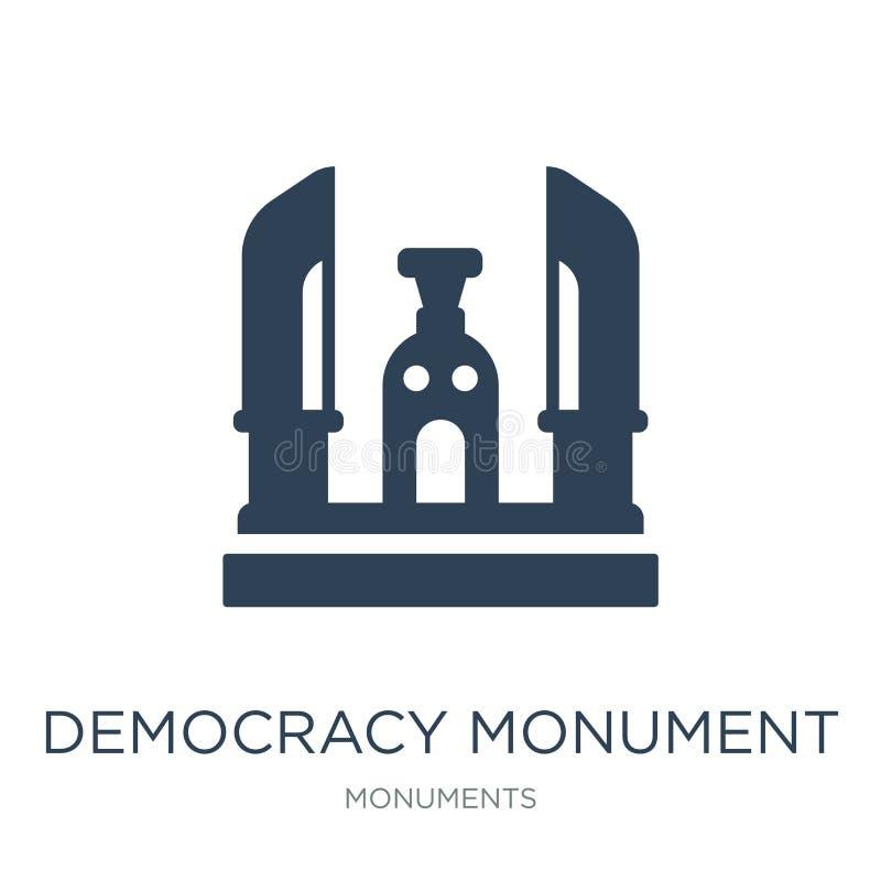icône de monument de démocratie dans le style à la mode de conception icône de monument de démocratie d'isolement sur le fond bla illustration stock