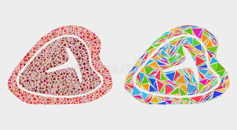 Icône de mosaïque de bifteck de boeuf d'à l'os de vecteur des triangles illustration libre de droits