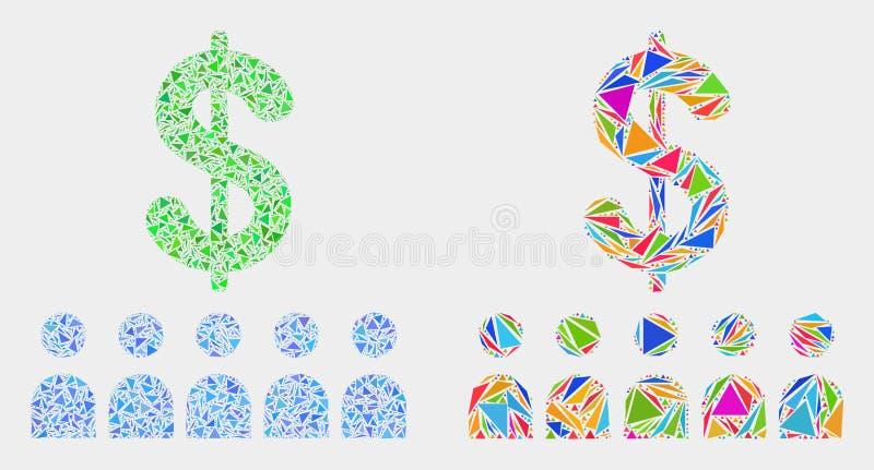 Icône de mosaïque de clients de banque de vecteur des éléments de triangle illustration stock