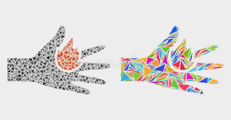 Icône de mosaïque de main de brûlure de vecteur des éléments de triangle illustration de vecteur