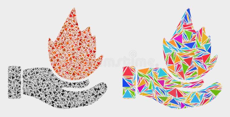 Icône de mosaïque de main de brûlure de vecteur des articles de triangle illustration de vecteur