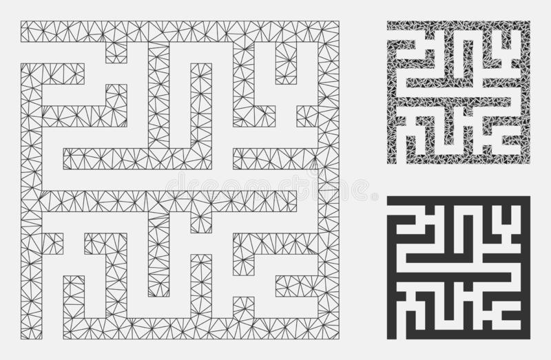 Icône de mosaïque de Maze Vector Mesh Carcass Model et de triangle illustration stock