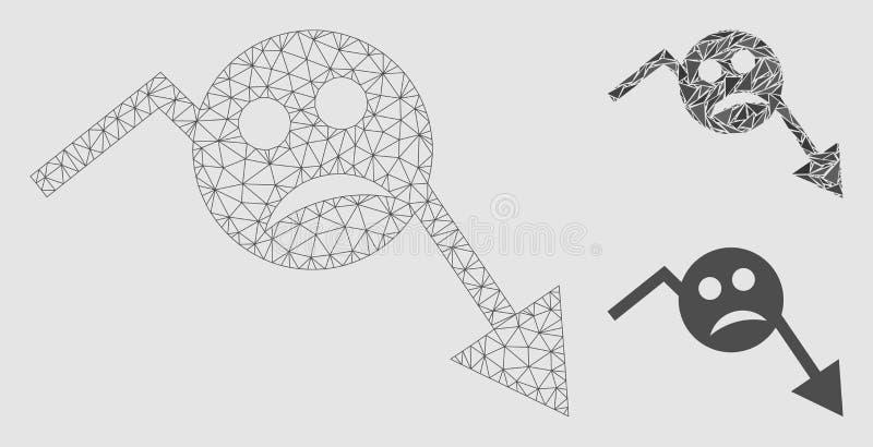 Icône de mosaïque de modèle et de triangle de carcasse de Smiley Trend Arrow Vector Mesh de dépression illustration stock