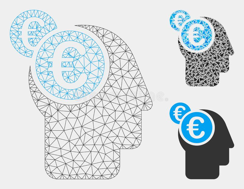 Icône de mosaïque de modèle et de triangle d'Intellect Vector Mesh d'euro homme d'affaires 2D illustration stock