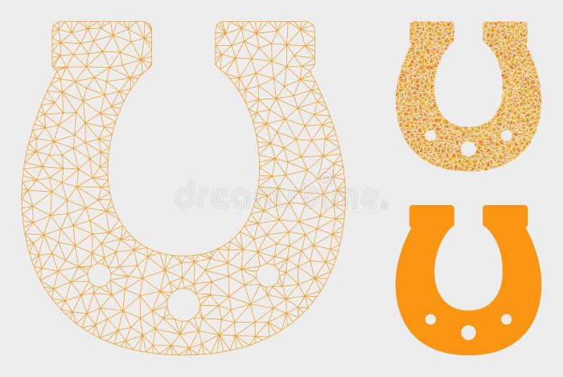 Icône de mosaïque de modèle et de triangle de Lucky Horseshoe Vector Mesh Carcass illustration libre de droits