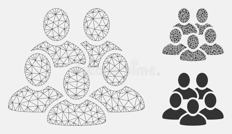 Icône de mosaïque de modèle et de triangle de maille collective de vecteur d'hommes 2D illustration de vecteur