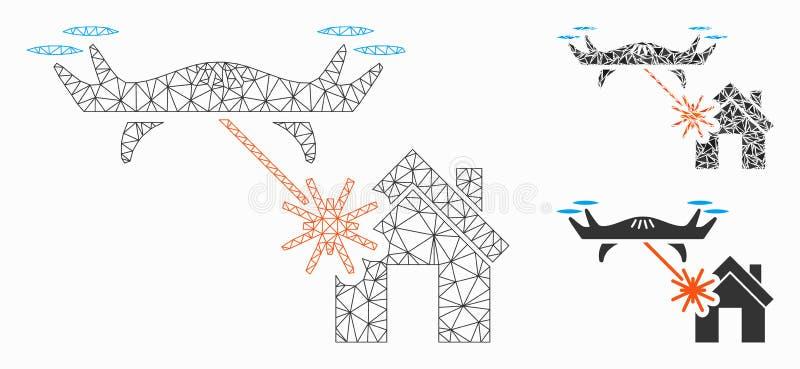 Icône de mosaïque de modèle et de triangle de maille de vecteur de Chambre d'attaques de bourdon de laser 2D illustration de vecteur