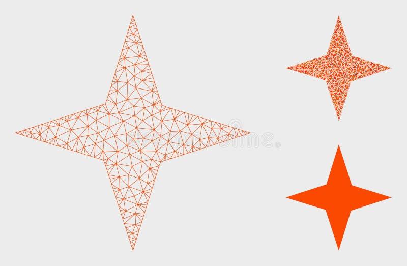 Icône de mosaïque de modèle et de triangle de maille de vecteur d'étoile de l'espace 2D illustration libre de droits