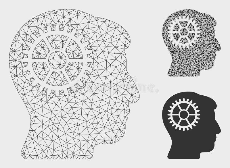 Icône de mosaïque de modèle et de triangle de maille de vecteur de dent d'intellect 2D illustration de vecteur