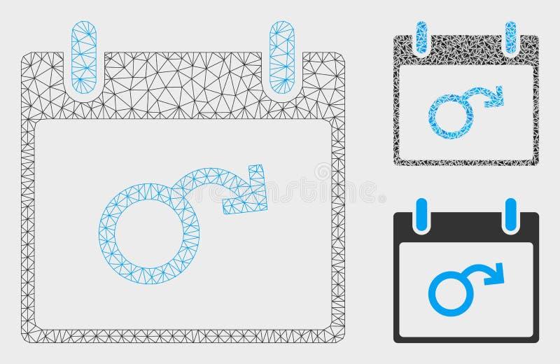 Icône de mosaïque de modèle et de triangle de maille de vecteur de jour civil d'impuissance 2D illustration stock