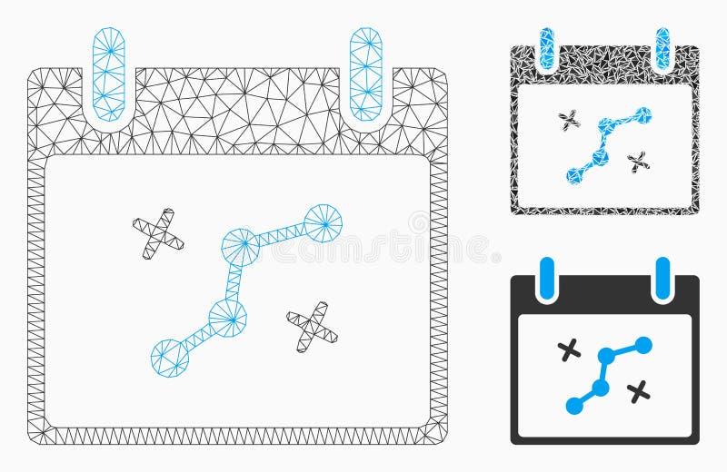 Icône de mosaïque de modèle et de triangle de maille de vecteur de jour civil de points de chemin 2D illustration de vecteur
