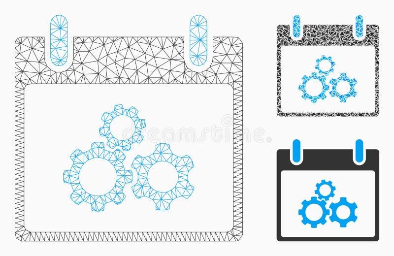 Icône de mosaïque de modèle et de triangle de maille de vecteur de jour civil de vitesses de mécanique 2D illustration stock