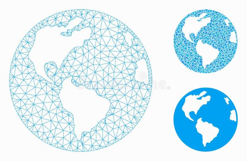Icône de mosaïque de modèle et de triangle de maille de vecteur de la terre de planète 2D illustration de vecteur