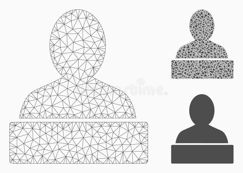 Icône de mosaïque de modèle et de triangle de maille de vecteur de monument 2D illustration stock
