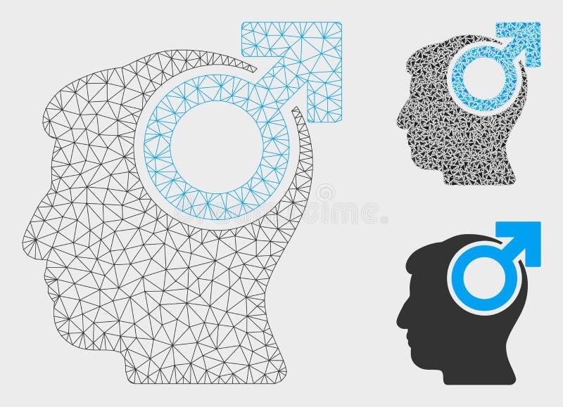 Icône de mosaïque de modèle et de triangle de maille de vecteur de pouvoir d'intellect 2D illustration libre de droits