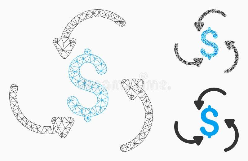 Icône de mosaïque de modèle et de triangle de maille de vecteur de remous d'argent 2D illustration stock