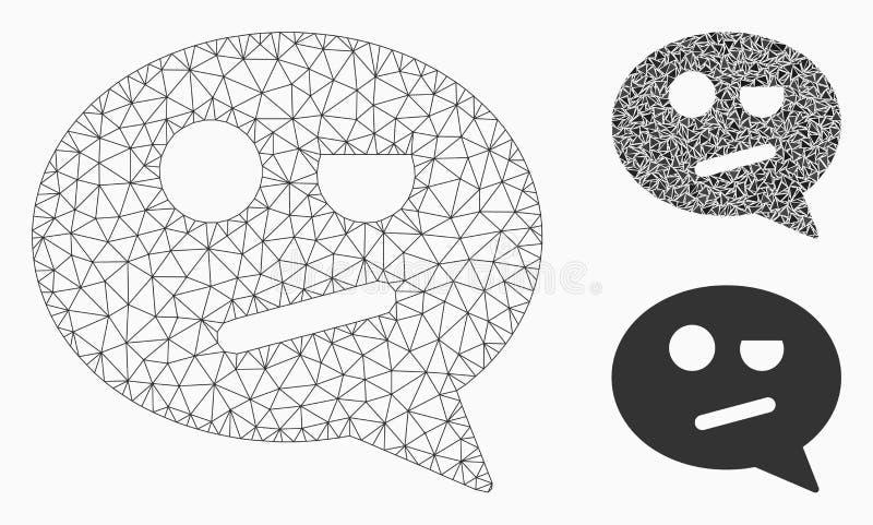 Icône de mosaïque de modèle et de triangle de Smiley Message Vector Mesh Network de négation illustration de vecteur
