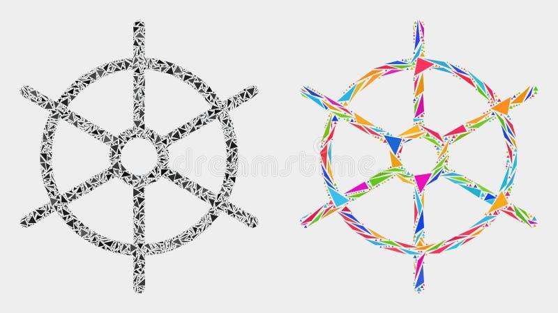 Icône de mosaïque de roue de règle de bateau de vecteur des éléments de triangle illustration libre de droits