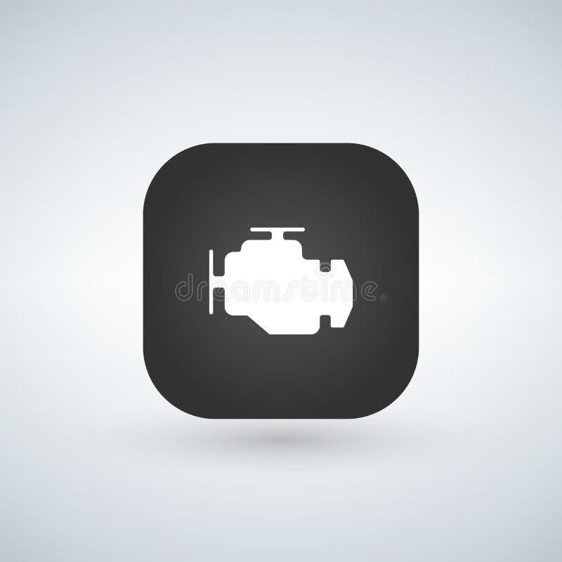 Icône de moteur de voiture d'isolement sur le bouton d'APP Symbole simple à la mode pour la conception ou le bouton de site Web à illustration de vecteur