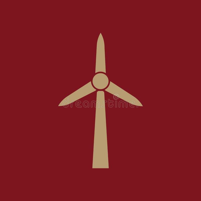 Icône de moulin à vent Puissance et renouvelable, générateur, symbole d'écologie Conception plate Actions - illustration de vecte illustration libre de droits