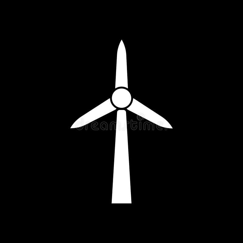 Icône de moulin à vent Puissance et renouvelable, générateur, symbole d'écologie Conception plate Actions - illustration de vecte illustration de vecteur