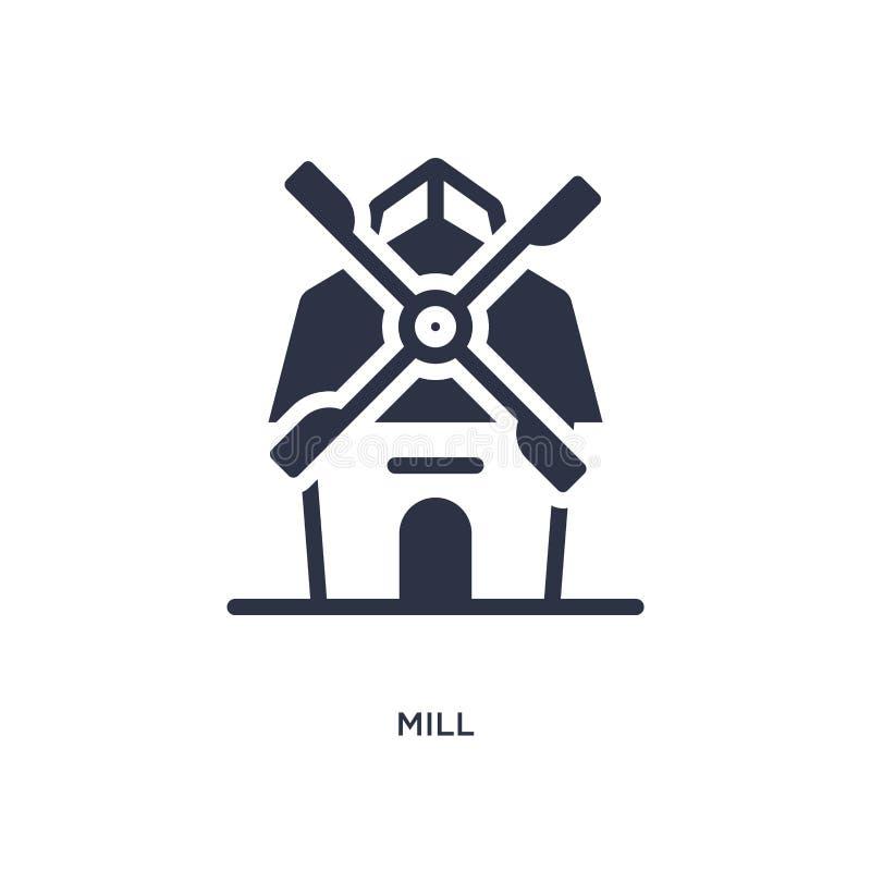 Icône de moulin sur le fond blanc Illustration simple d'élément de concept occidental sauvage illustration stock